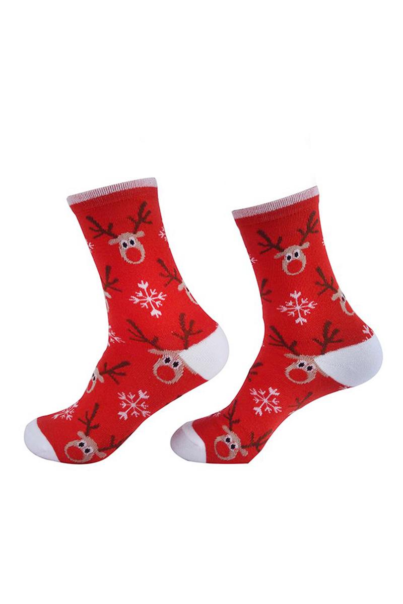 Yılbaşı Geyik Desenli Kadın Çorabı Kırmızı 1 Çift