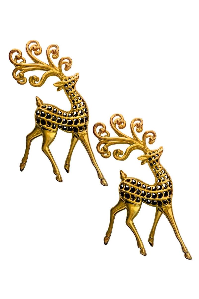 Altın Geyikler Dekor Süs 11cm 2li