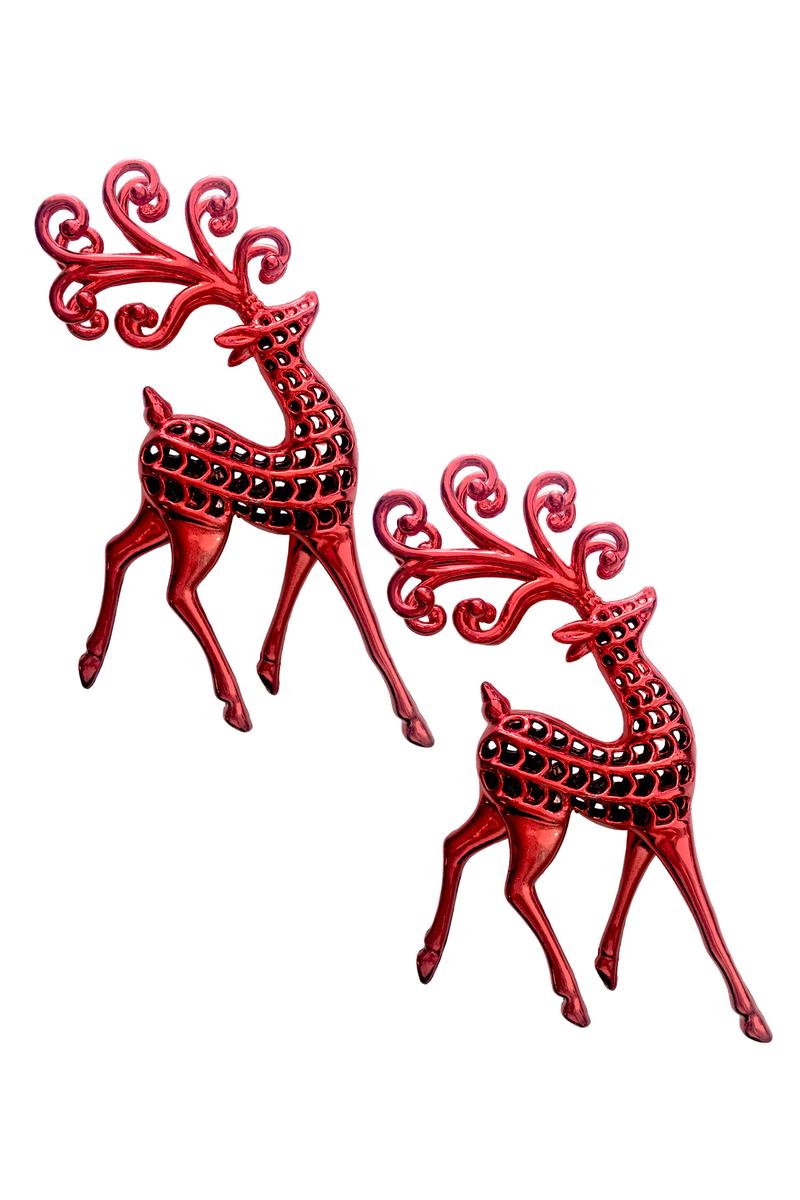Kırmızı Geyikler Dekor Süs 15 x 11cm 2 Adet