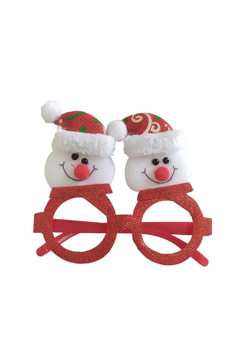 Yılbaşı Kırmızı Simli Noel Şapkalı Kardan Adam Gözlük 1 Adet - Thumbnail