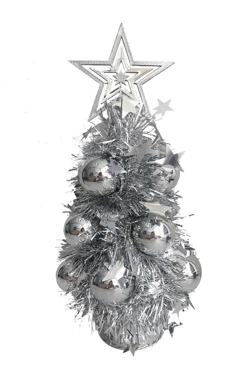 Yılbaşı Metalize Süslü Çam Dekor Süs 12 x 30cm Gümüş 1 Adet