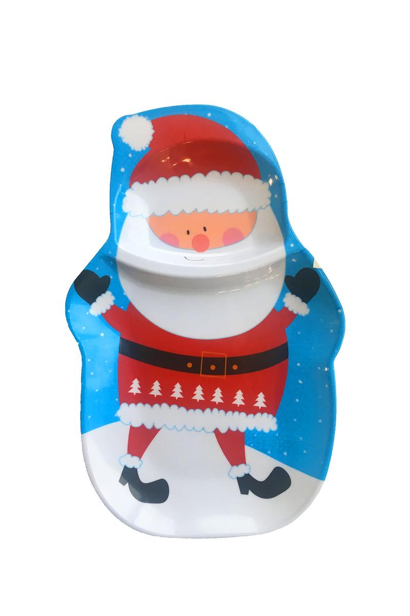 Yılbaşı Noel Baba Desenli 2 Bölmeli Servis Tabağı 22 x 33cm 1 Adet - Thumbnail