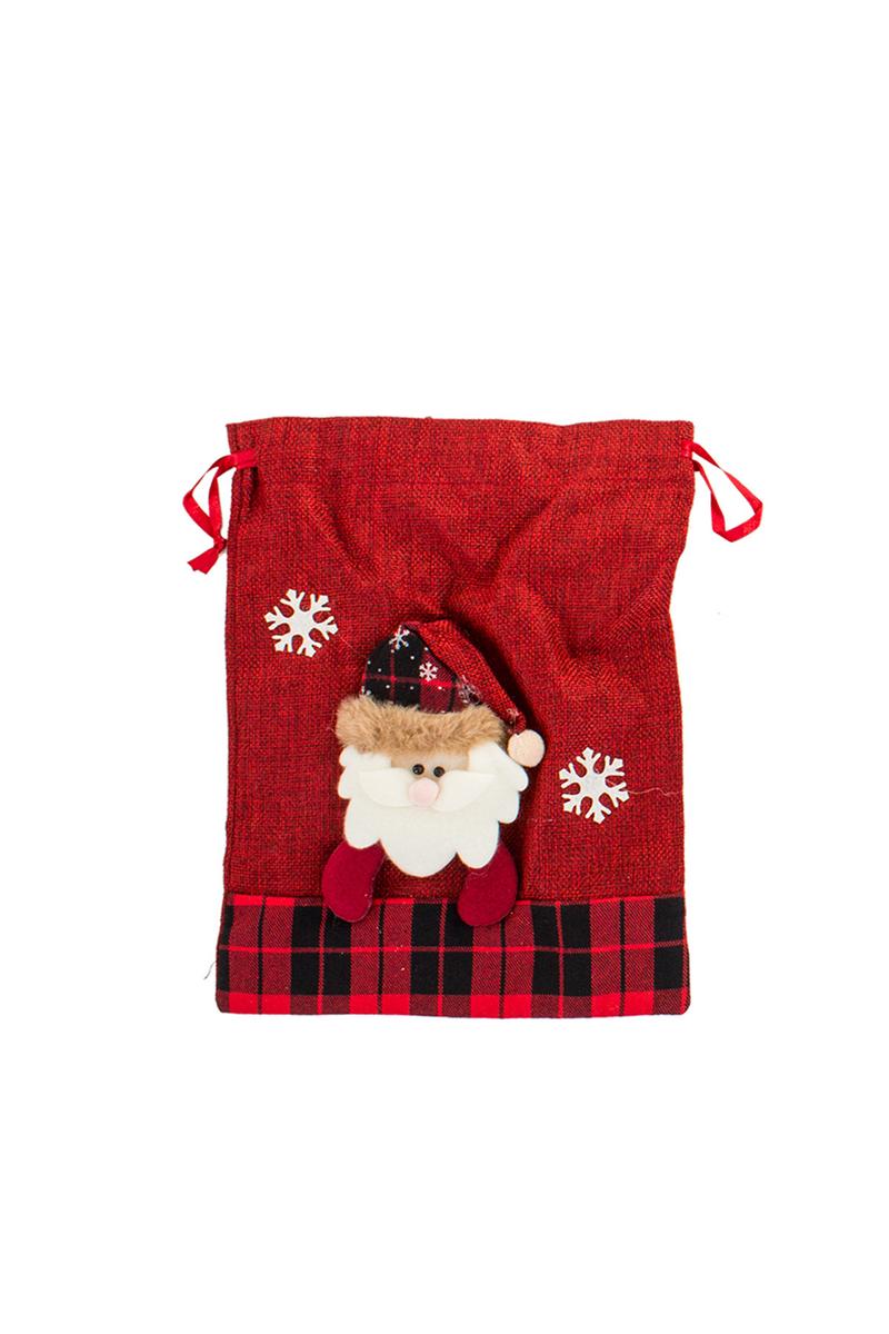 Yılbaşı Noel Baba Desenli Hediye Çuvalı 22x28cm 1 Adet