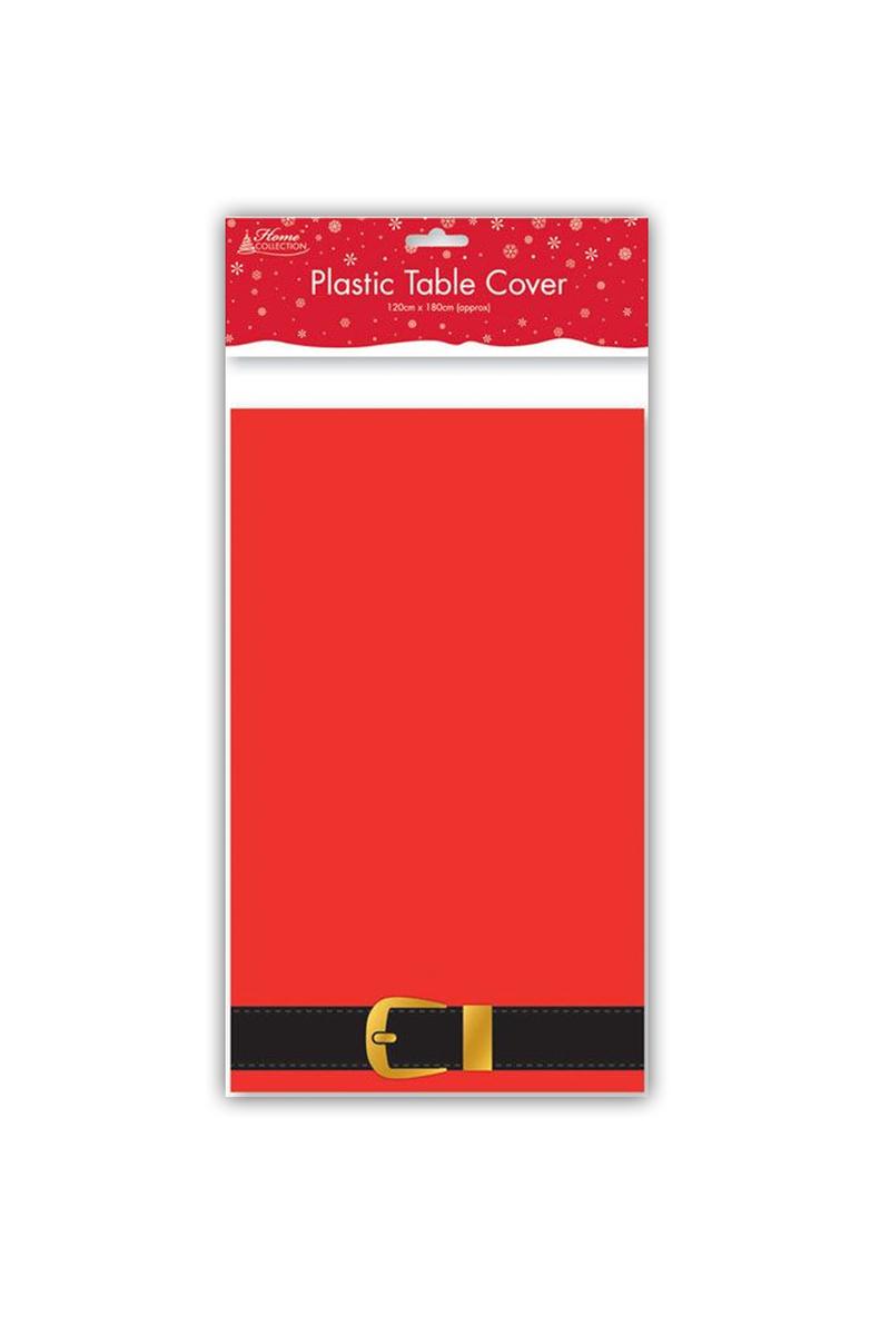 Yılbaşı Noel Baba Kemer Desenli Plastik Masa Örtüsü 120x180cm 1 Adet