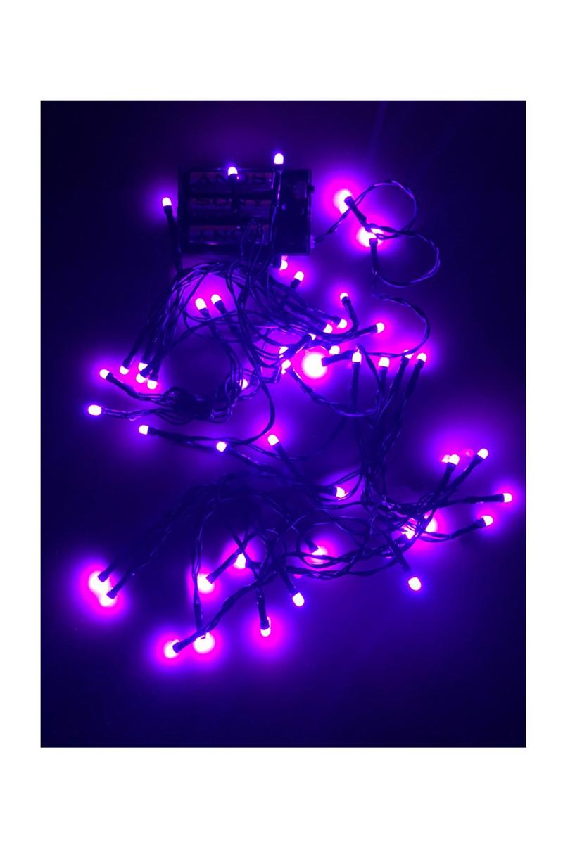Yılbaşı Pilli Led Işık 6m 50 Ampül Mor 1 Adet - Thumbnail