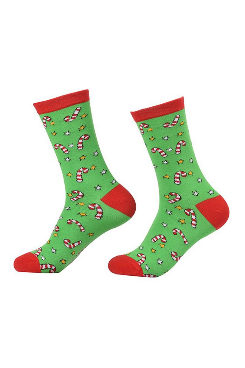Yılbaşı Şekeri Desenli Çocuk Çorabı Yeşil 1 Çift
