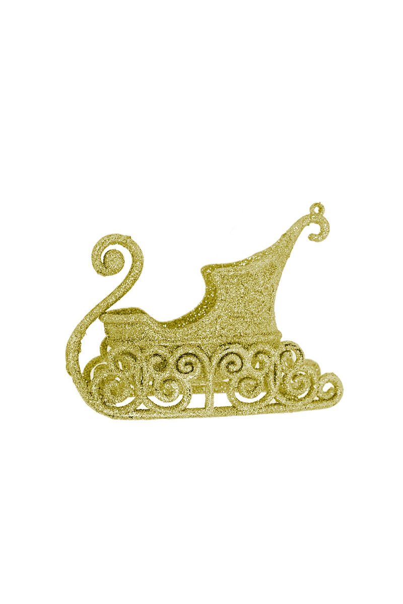 Yılbaşı Simli Altın Mini Kızak Dekor Asma Süs 8cm 1 Adet