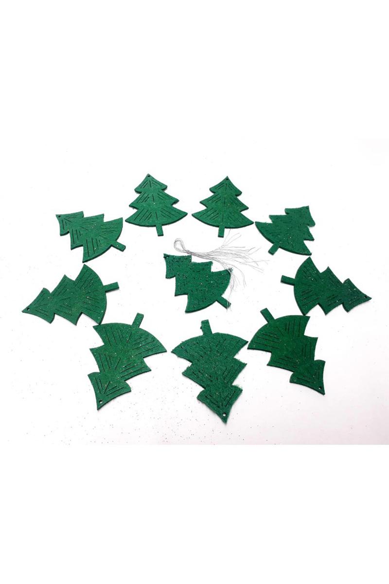 Yılbaşı Yeşil Çam Ağacı Şekilli Keçe Ağaç Süsü 7x10cm 10lu