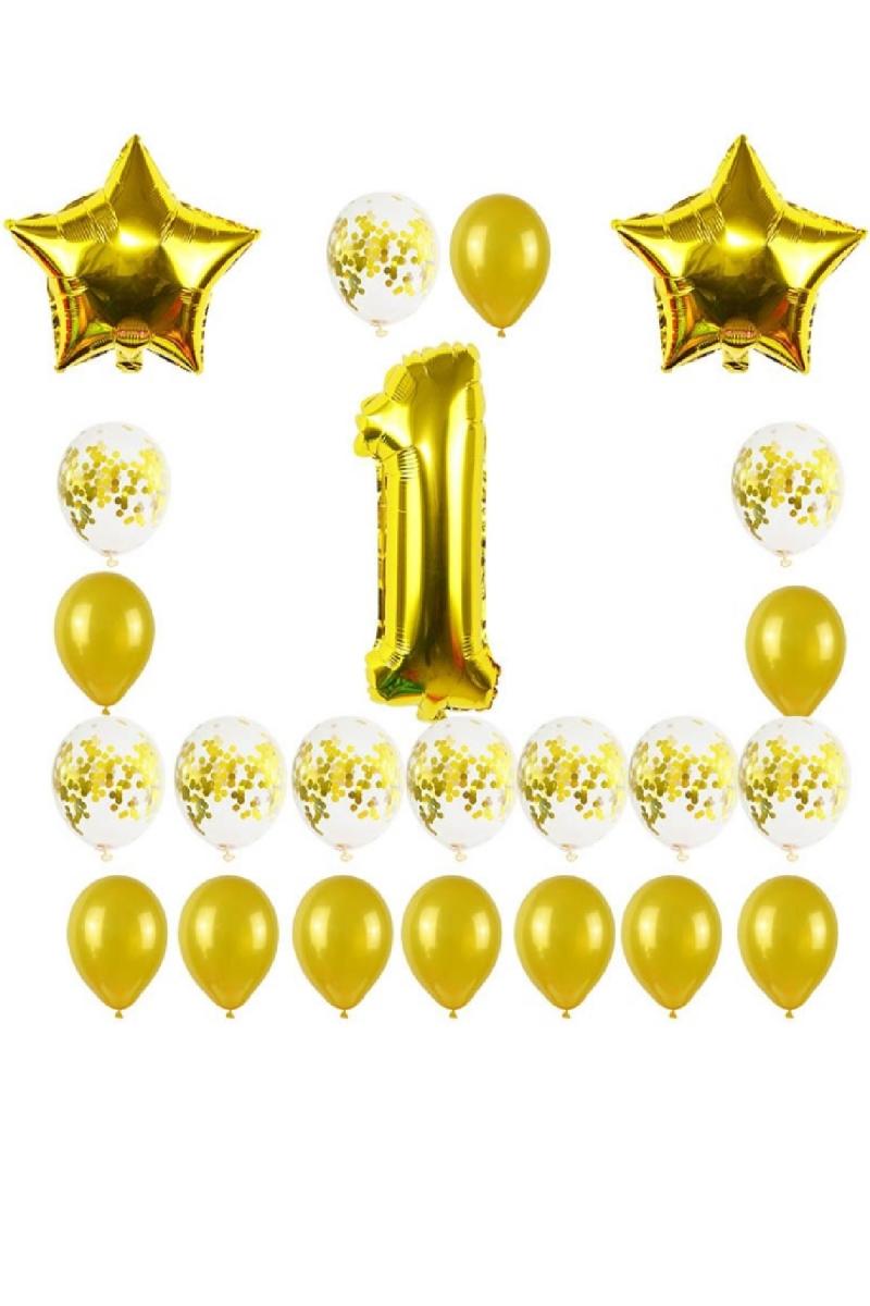 1 Yaş Altın Yıldızlar Balon Set 24 Parça