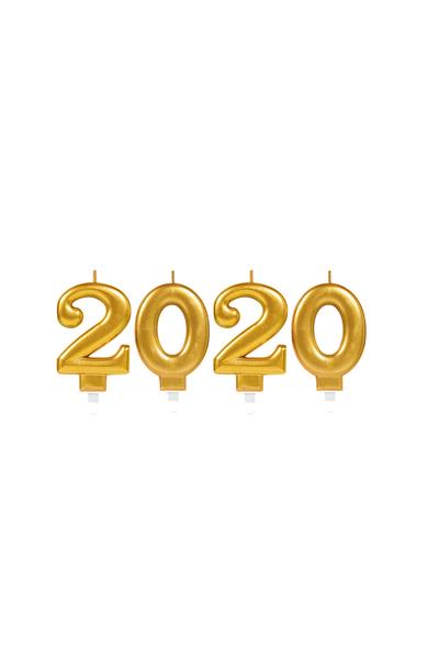2020 Lüks Altın Mum Seti 7cm 4 Parça