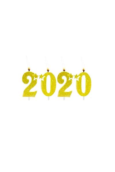 2020 Simli Altın Mum Seti 7cm 4 Parça