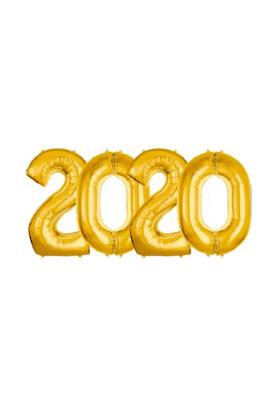 2020 Yılbaşı Altın Folyo Balon Set 90cm