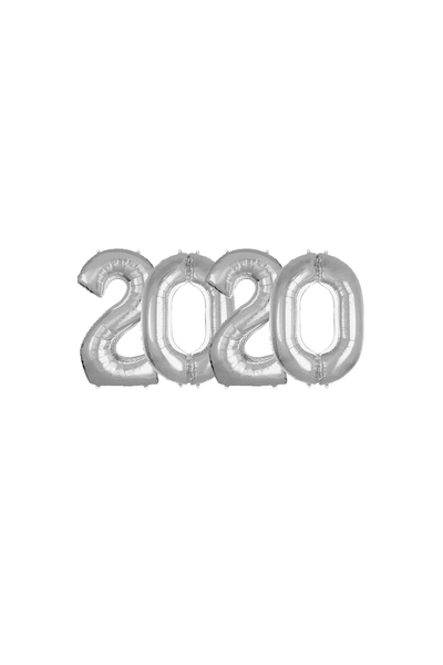 2020 Yılbaşı Gümüş Folyo Balon Set 40cm