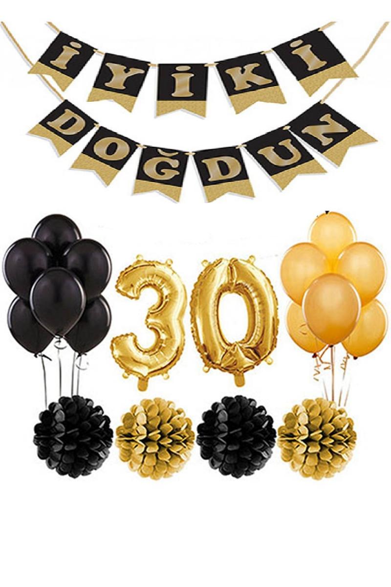 30 Yaş Doğum Günü Mekan Süsleme Seti Altın ve Siyah - Thumbnail