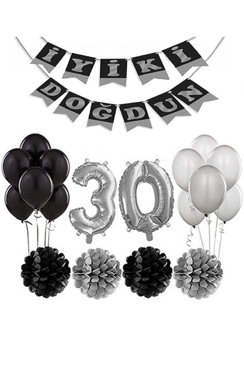 30 Yaş Doğum Günü Mekan Süsleme Seti Gümüş ve Siyah - Thumbnail