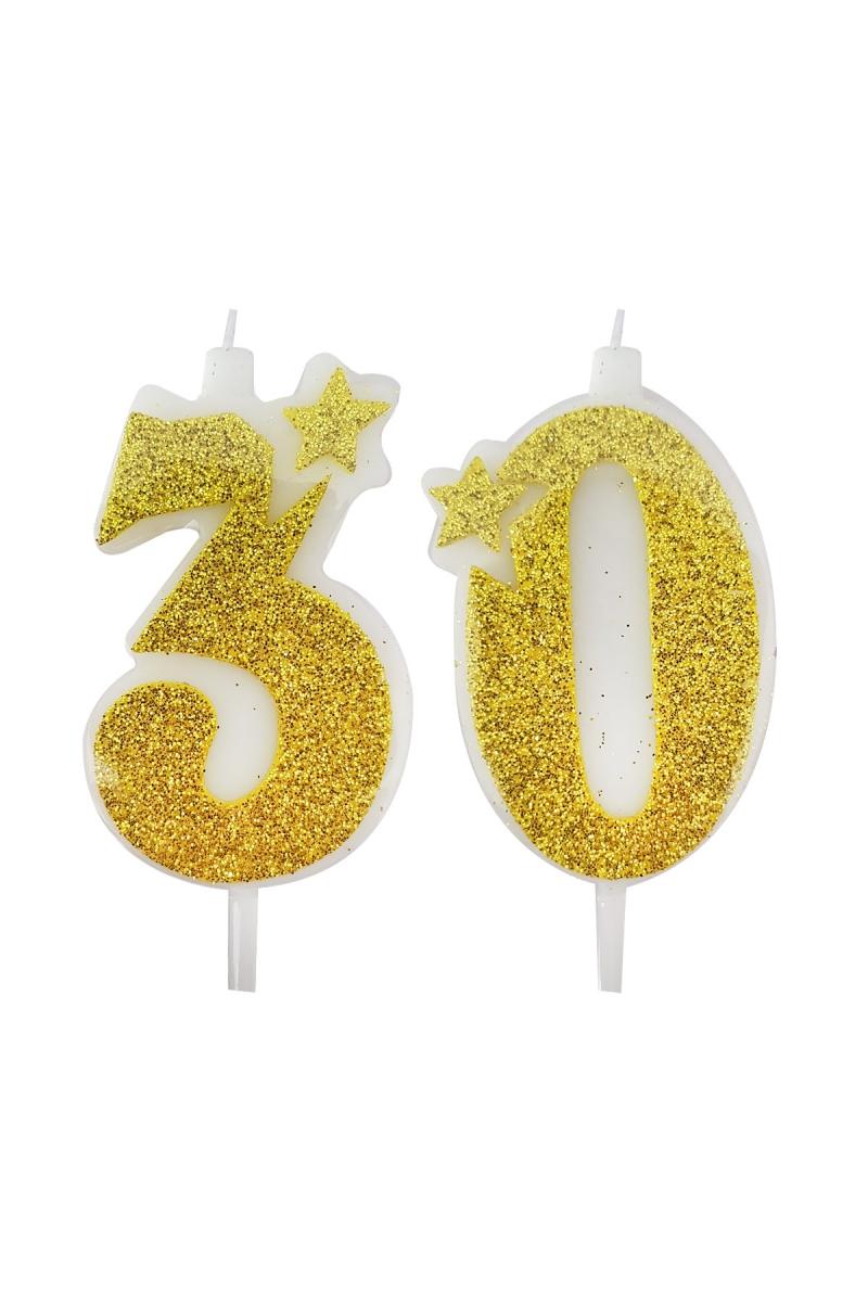 30 Yaş Mum Altın Simli 7cm