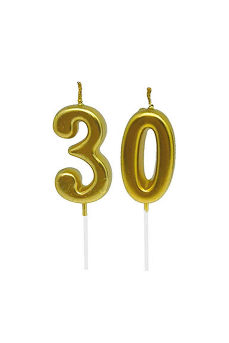 30 Yaş Mum Seti Altın 7cm - Thumbnail