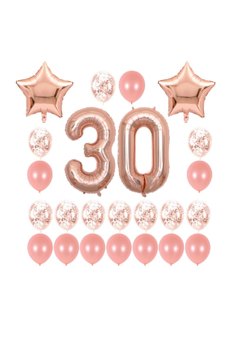 30 Yaş Rose Gold Yıldızlı Balon Seti 25 Parça