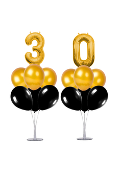 30 Yaş Siyah-Altın Balon Standlı Doğum Günü Balon Süsleme Seti 24 Parça - Thumbnail