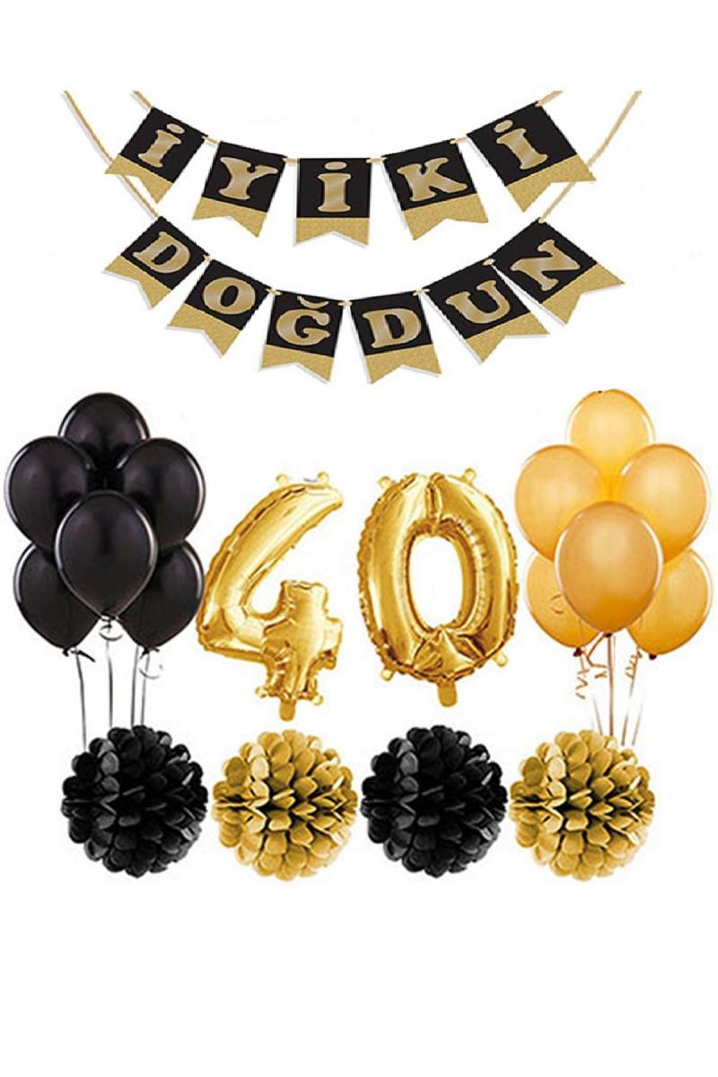 40 Yaş Doğum Günü Mekan Süsleme Seti Altın ve Siyah - Thumbnail