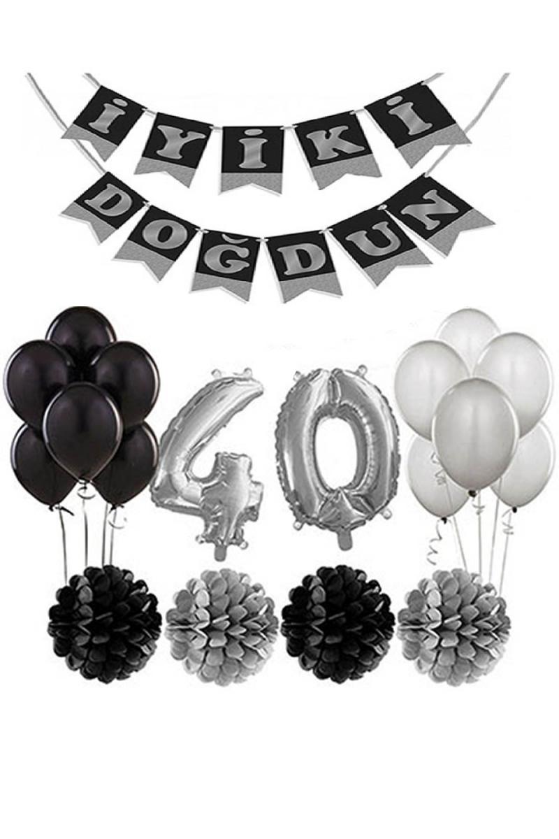 40 Yaş Doğum Günü Mekan Süsleme Seti Gümüş ve Siyah - Thumbnail