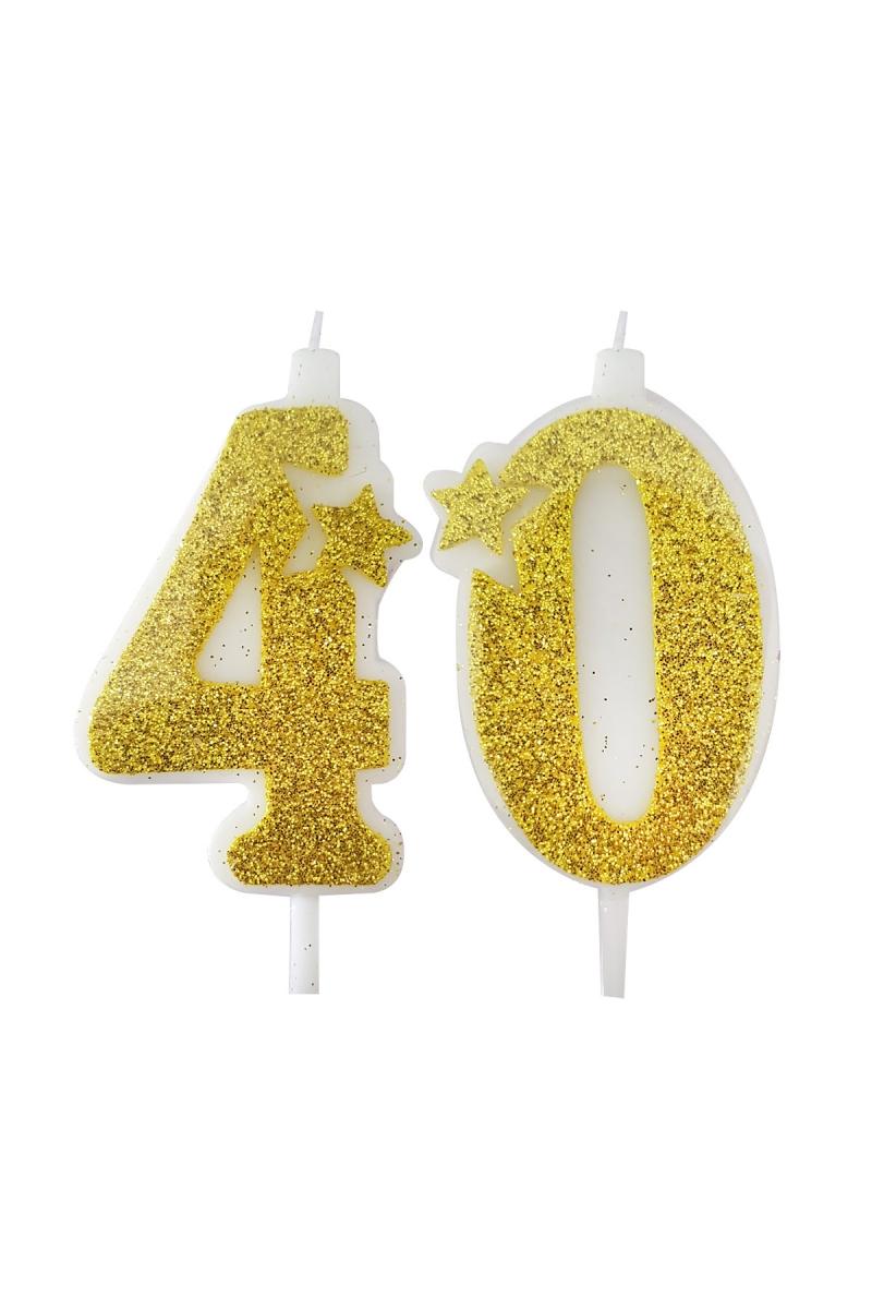 40 Yaş Mum Altın Simli 7cm