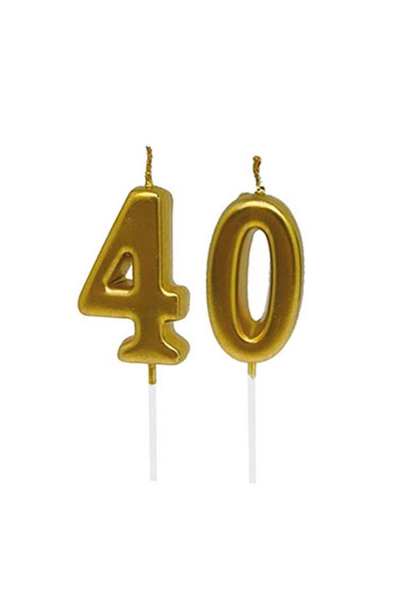 40 Yaş Mum Seti Altın 7cm - Thumbnail