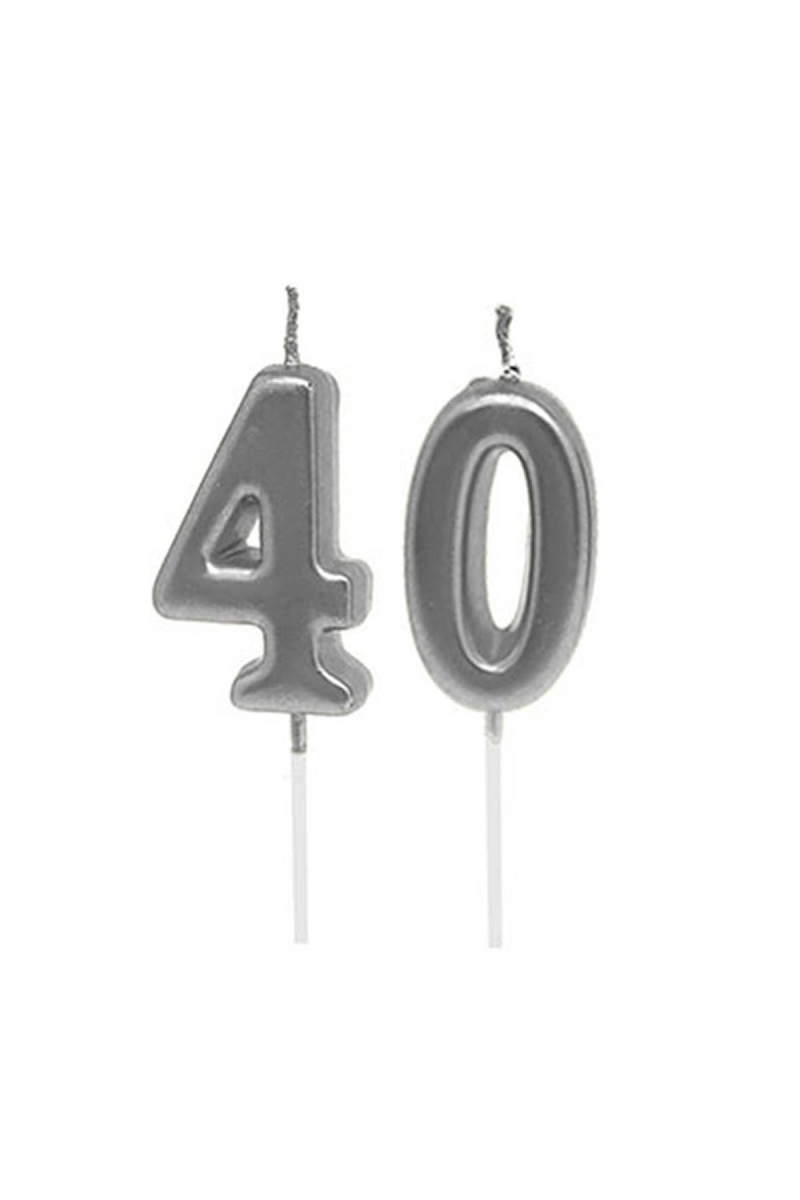40 Yaş Mum Seti Gümüş 7cm - Thumbnail