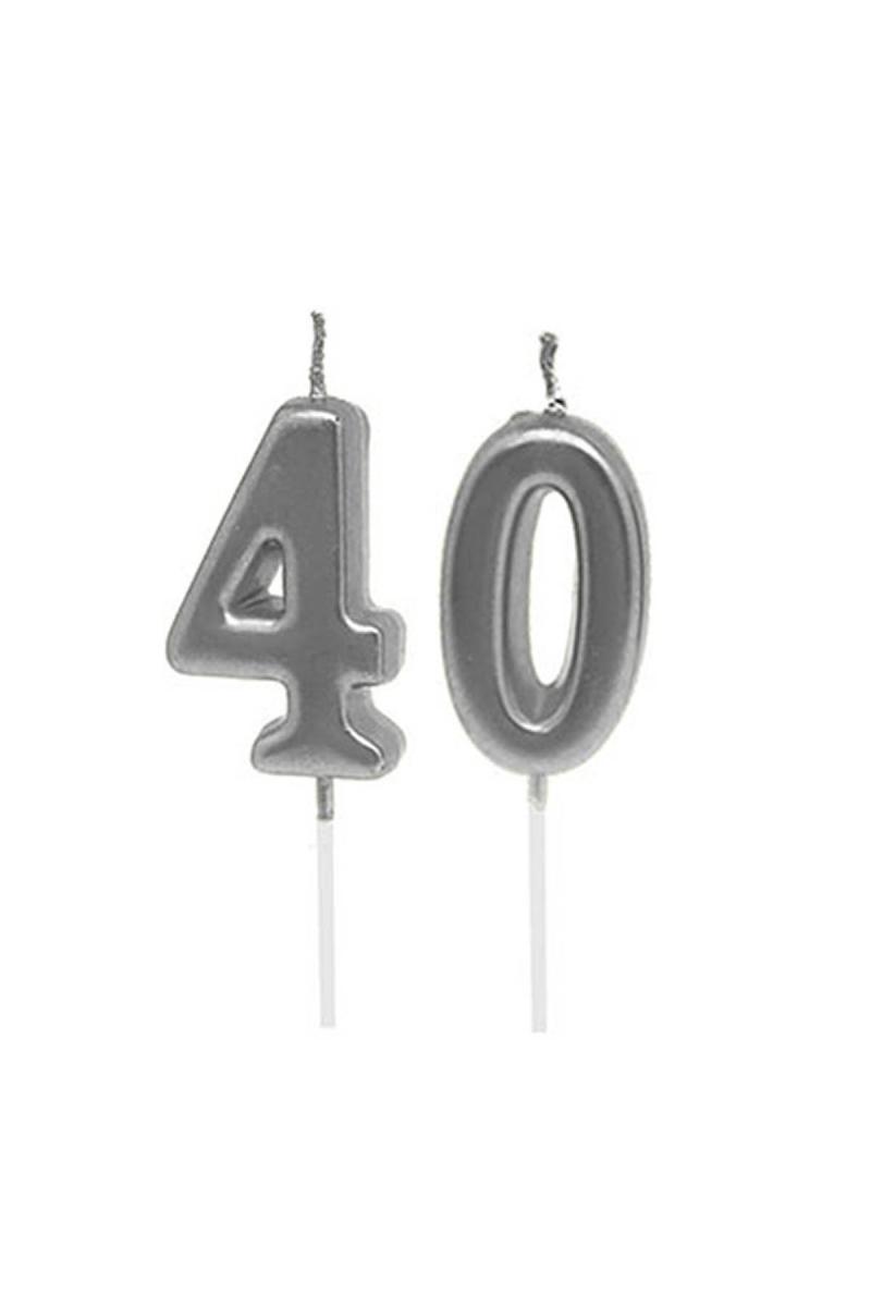 40 Yaş Mum Seti Gümüş 7cm