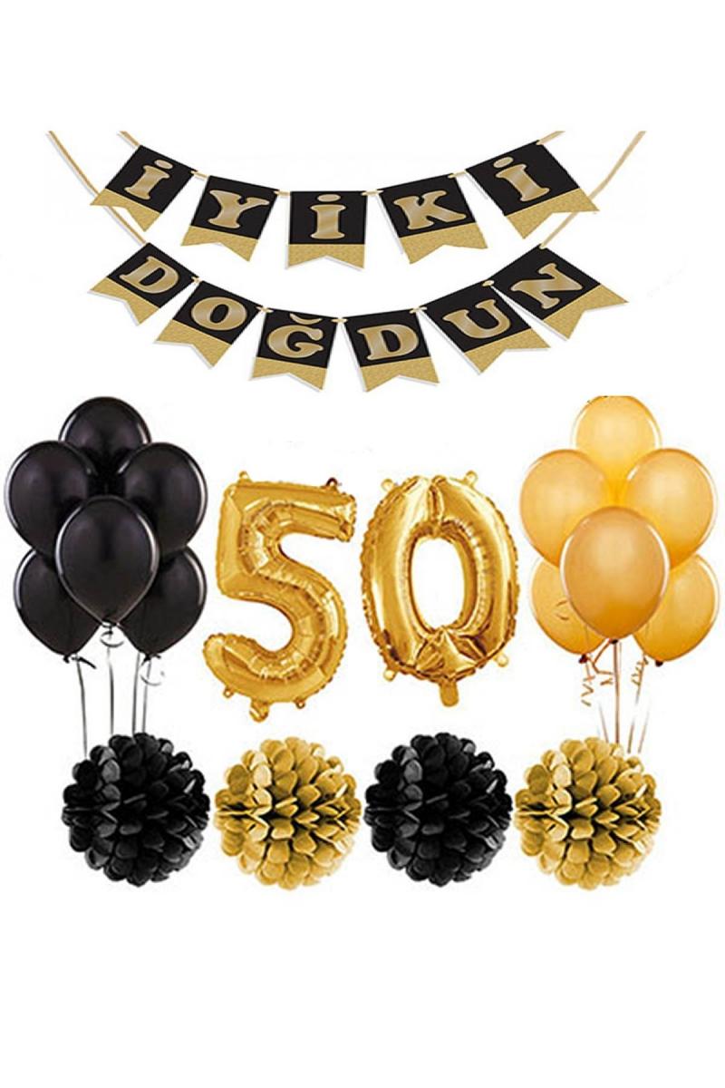 50 Yaş Doğum Günü Mekan Süsleme Seti Altın ve Siyah - Thumbnail