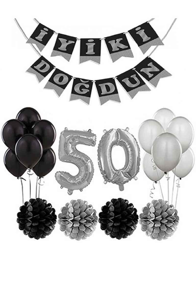 50 Yaş Doğum Günü Mekan Süsleme Seti Gümüş ve Siyah - Thumbnail