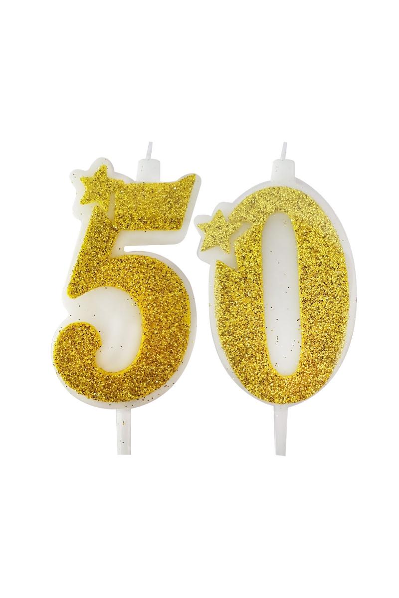50 Yaş Mum Altın Simli 7cm