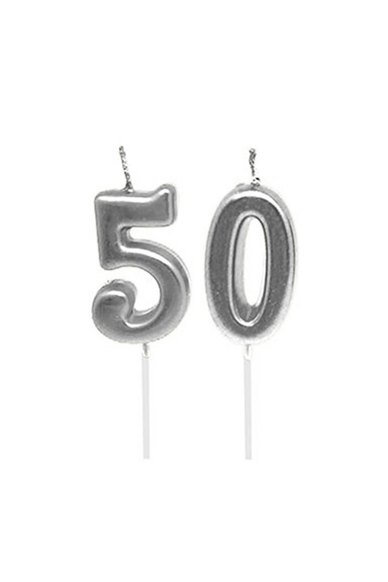 50 Yaş Mum Seti Gümüş 7cm - Thumbnail