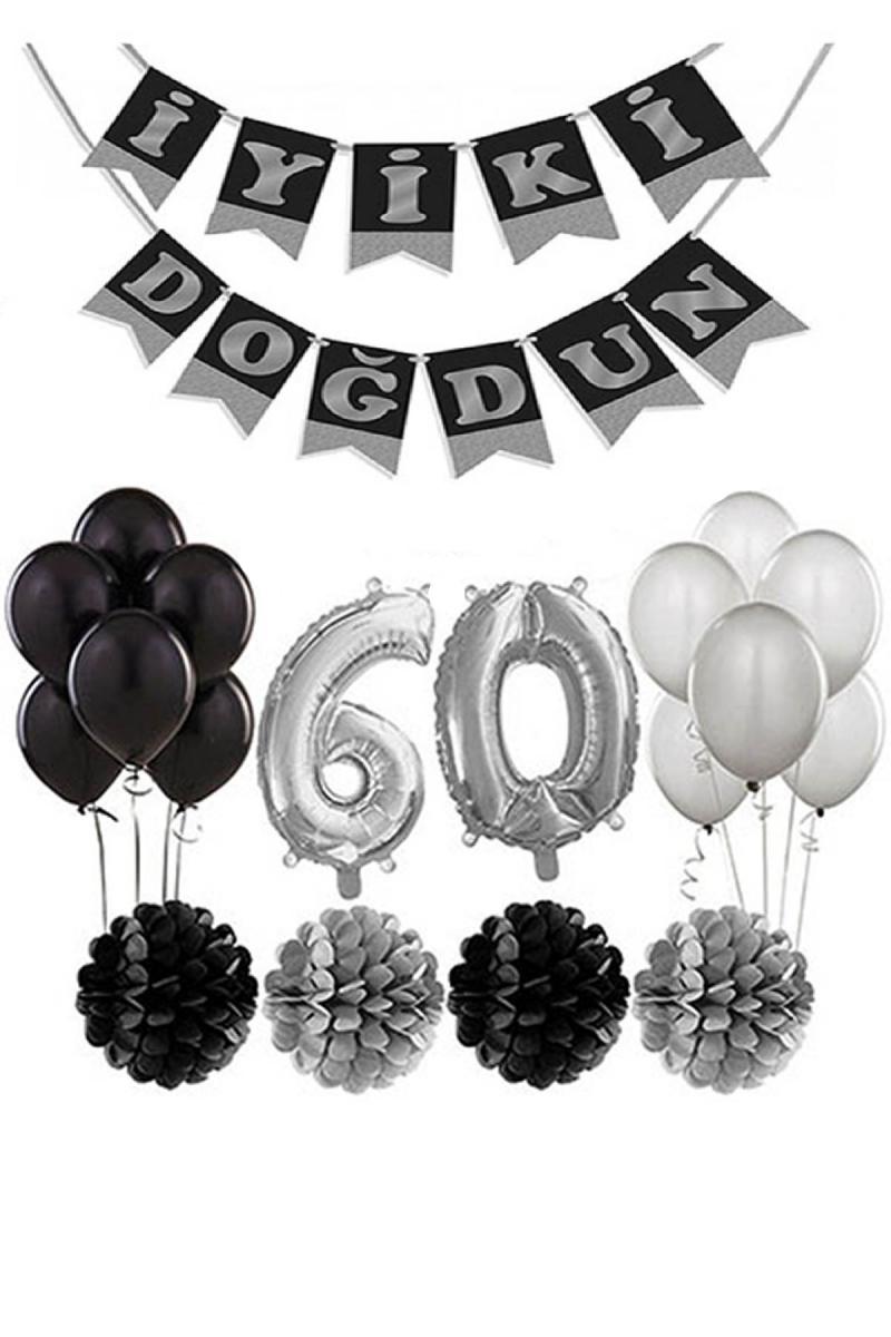 60 Yaş Doğum Günü Mekan Süsleme Seti Gümüş ve Siyah