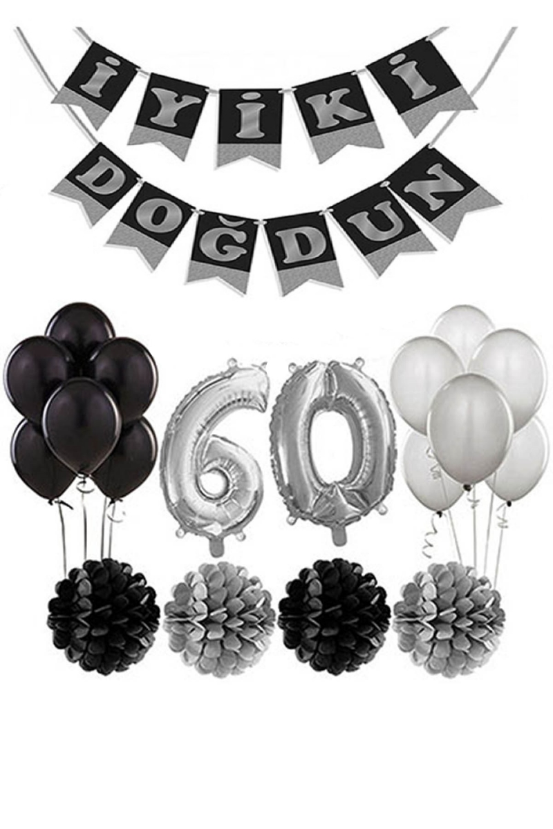60 Yaş Doğum Günü Mekan Süsleme Seti Gümüş ve Siyah - Thumbnail