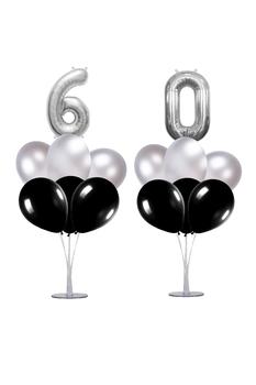 60 Yaş Siyah-Gümüş Balon Standlı Doğum Günü Balon Süsleme Seti 24 Parça - Thumbnail