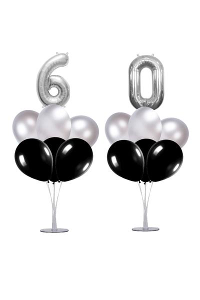 60 Yaş Siyah-Gümüş Balon Standlı Doğum Günü Balon Süsleme Seti 24 Parça