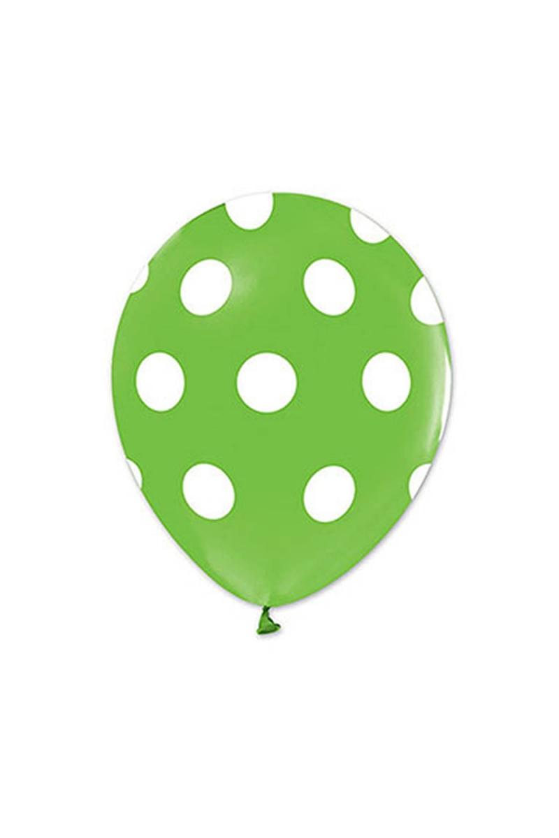 Beyaz Puantiyeli Açık Yeşil Balon 30cm (12 inch) 50li