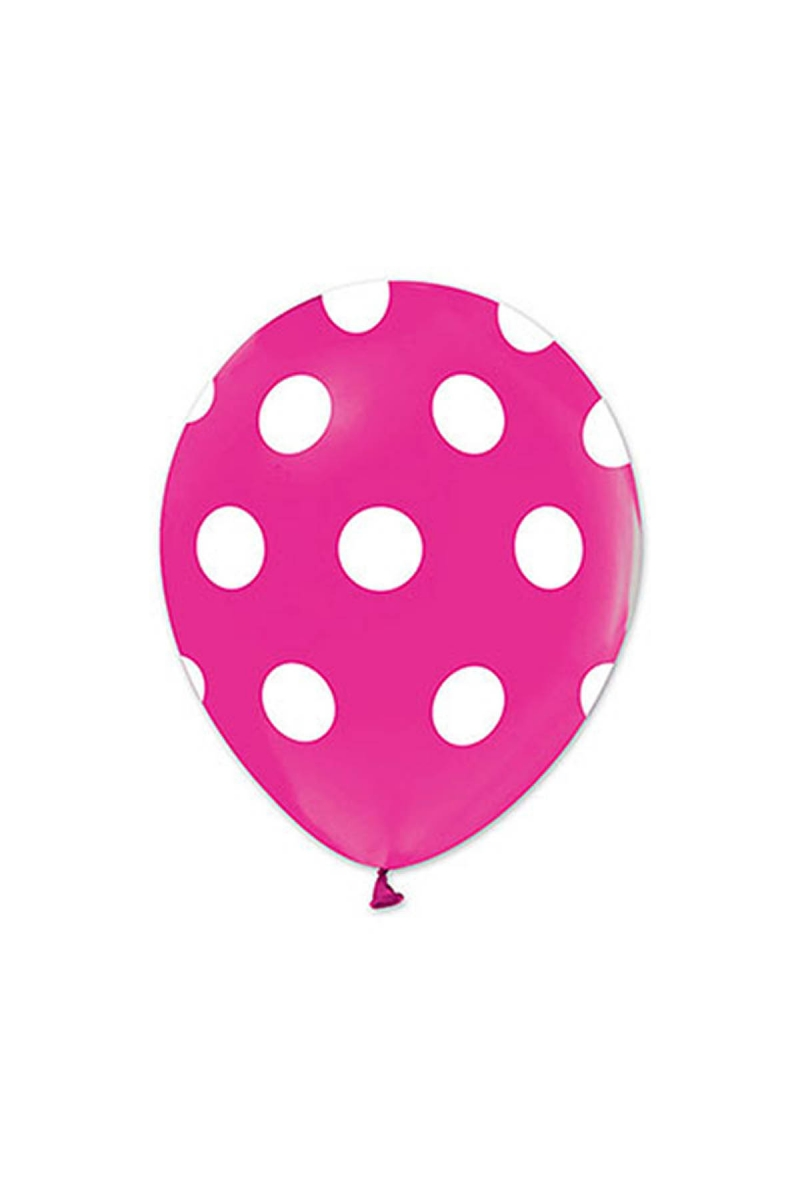 Beyaz Puantiyeli Fuşya Balon 30cm (12 inch) 20li
