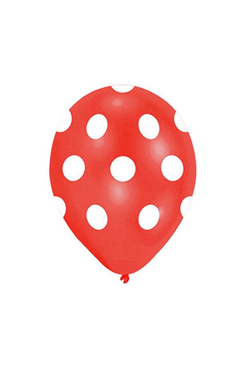 Beyaz Puantiyeli Kırmızı Balon 30cm (12 inch) 50li