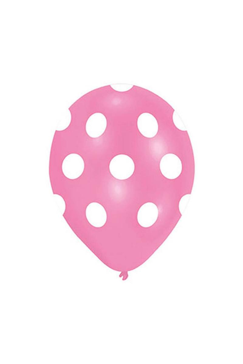 Beyaz Puantiyeli Pembe Balon 30cm (12 inch) 50li