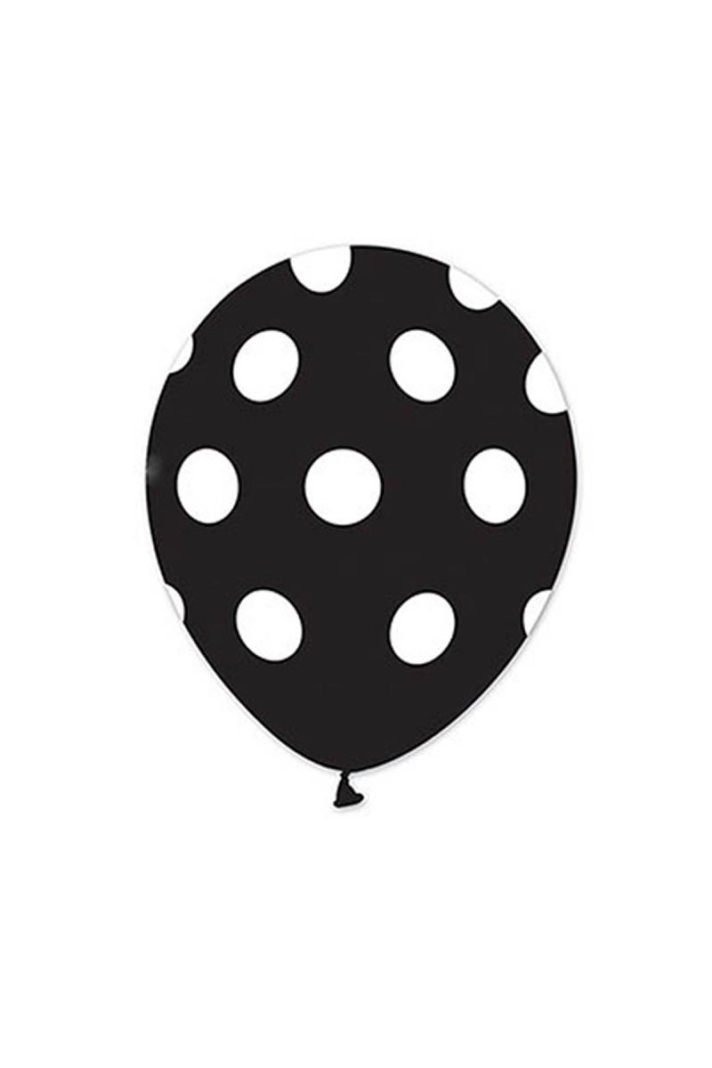 Beyaz Puantiyeli Siyah Balon 30cm (12 inch) 30lu