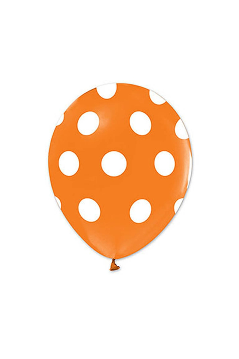 Beyaz Puantiyeli Turuncu Balon 30cm (12 inch) 20li