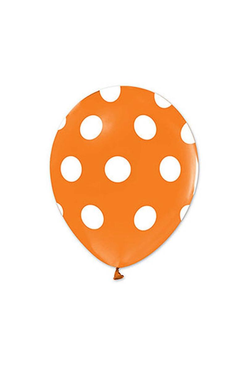 Beyaz Puantiyeli Turuncu Balon 30cm (12 inch) 50li