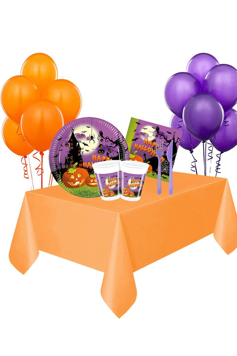 Cadılar Bayramı Happy Halloween Balonlu Sofra Seti 8 Kişilik 107 Parça