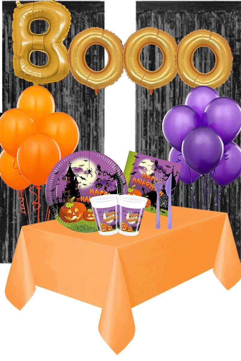 Cadılar Bayramı Happy Halloween Booo Yazılı Arka Fonlu Sofra Seti 8 Kişilik 113 Parça