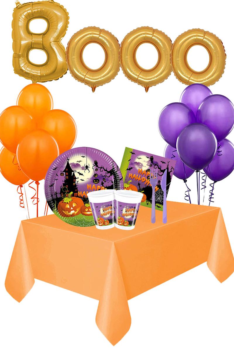 Cadılar Bayramı Happy Halloween Booo Yazılı Sofra Seti 8 Kişilik 111 Parça