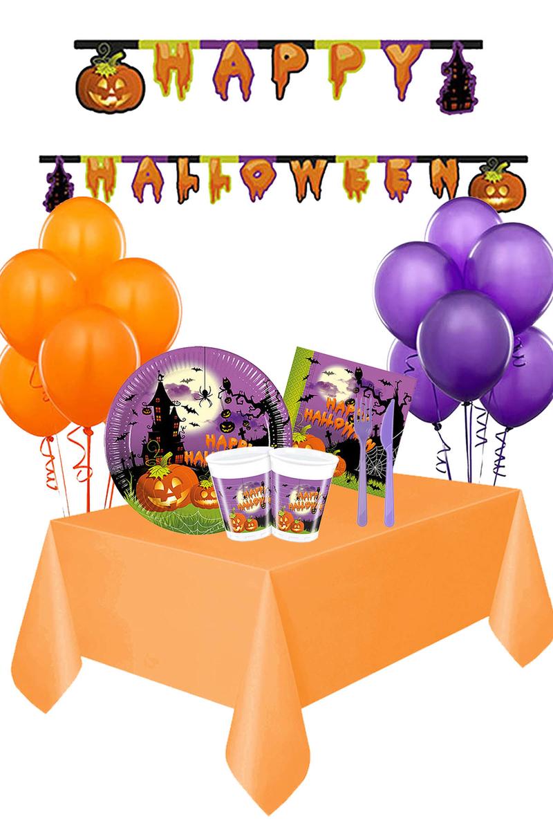 Cadılar Bayramı Happy Halloween Harf Afişli Sofra Seti 8 Kişilik 108 Parça