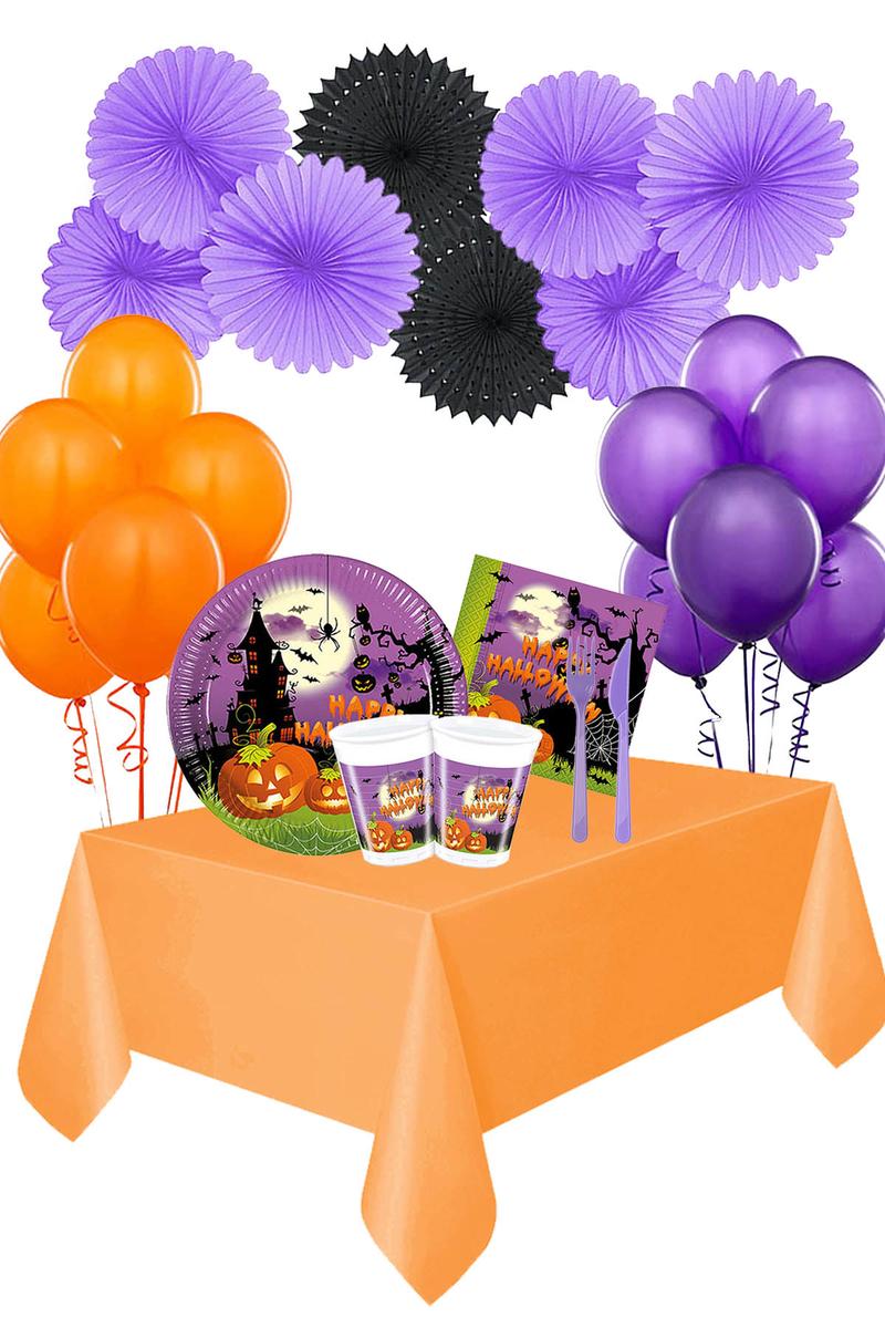 Cadılar Bayramı Happy Halloween Yelpaze Süsler Sofra Seti 8 Kişilik 115 Parça