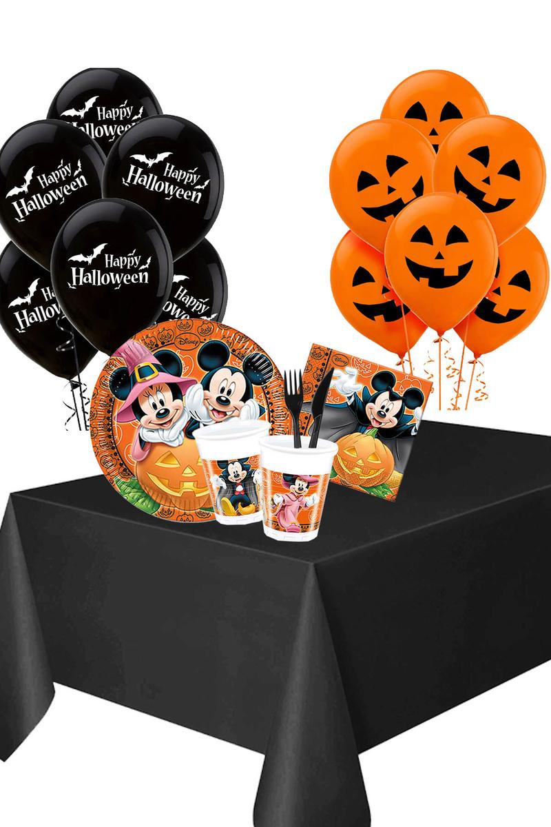 Cadılar Bayramı Mickey Halloween Balonlu Sofra Seti 8 Kişilik 107 Parça
